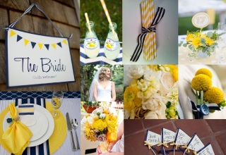 Navy and Yellow: Photos: 1) Navy, Yellow and White Sign: meredithperdue.com, 2) Lemonade with Straws: bellethemagazine.com, 3) Yellow Striped Straws: jillybeankids.com, 4) Table Number with Yellow Dahlias: stylemepretty.com, 5) Yellow and Navy boutonniere: bellethemagazine.com, 6) Flags with Navy and Yellow Ribbon: onewed.com, 7) Yellow and White Bridal Bouquet with Locket: weddingchicks.com, 8) Navy, Yellow and White Place Setting: brendasweddingblog.com, 9) Bride: bellethemagazine.com, 10) Yellow and White Flowers: scarletpetal.typepad.com/weblog/the-knickerbocker-hotel/
