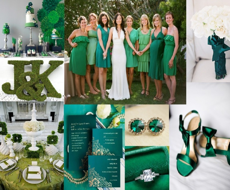 Emerald Green: Photoboard: 1) Wedding cake and dessert table - arabiaweddings.com, 2) Bride in white, bridesmaids in shades of emerals - societybride.com, 3) White bouquet with emerald green ribbon - stylemepretty.com, 4) Shoes from Santa Barbara Chic - sbchic.com, 5) Emerald Diamond - marthastewartweddings.com, 6) Emerald Earings - glendaloughmanor.com, 7) Emerald Invitation Suite - invitesweddings.co.uk, 8) Emerald and white tablescape - chasingrainbowskissingfrogs.blogspot.com, 9) Moss Letters - attention2detailblog.blogspot.com