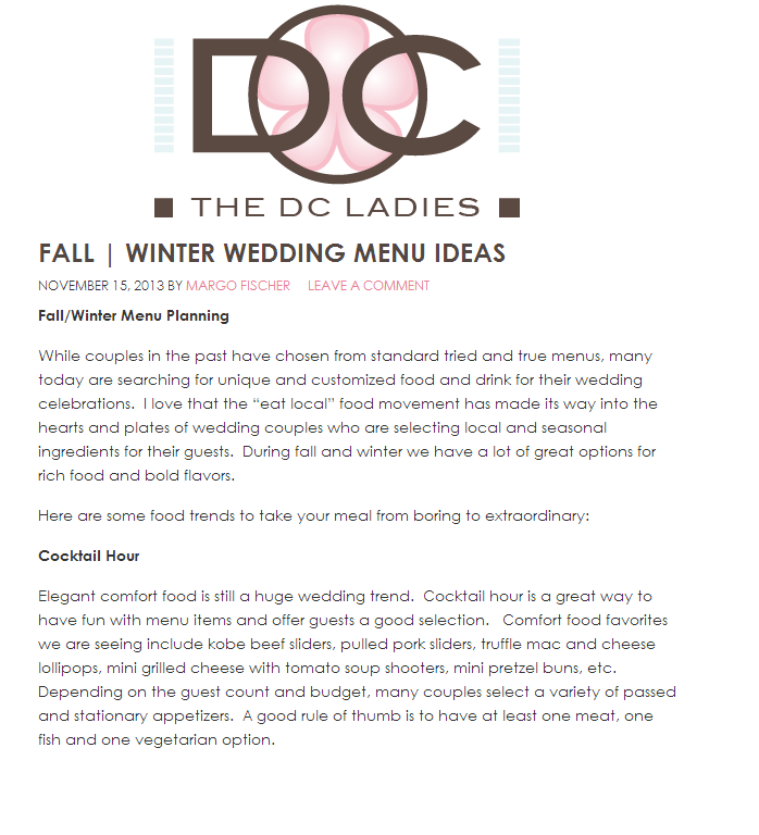 Winter Wedding Menu Ideas: The DC Ladies Recap: Fall/Winter Wedding Menu Ideas