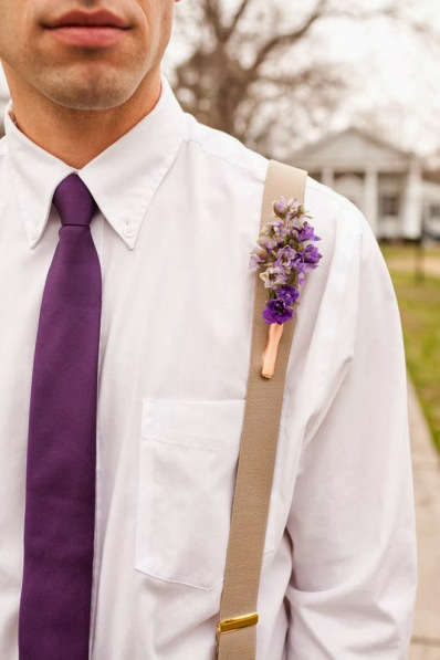 Radiant Orchid Tie and Boutonniere, via Carine's Bridal