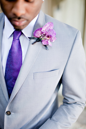 Gray Suit and Radiant Orchid Boutonniere via Southern Weddings