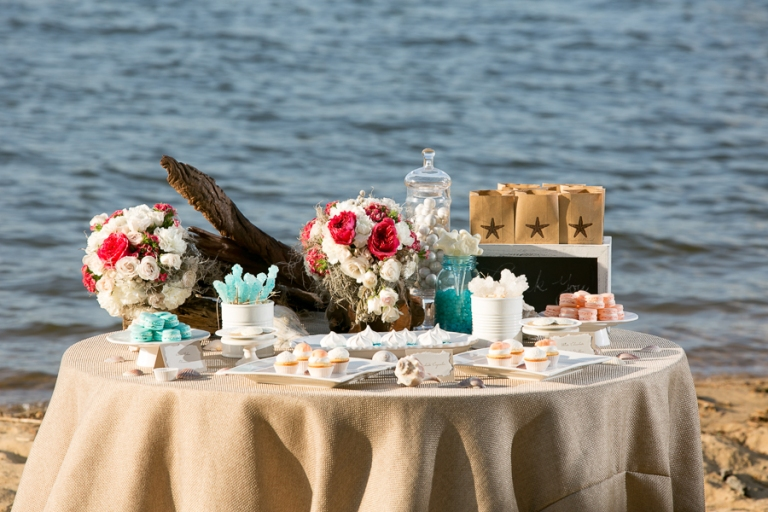 In lieu of favors that guests will leave behind, opt for a mini dessert table with take-home bags for guests.    Photo Credit: Kate Fine Art Photography, Flower Follies, Allison Barnhill Design