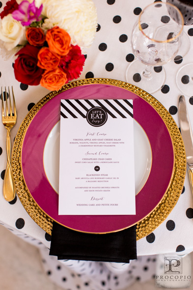 Kate Spade is known for creating bold and bright patterns that are chic and modern.   I love translating this inspiration for my clients. Photo Credit: Procopio Photography