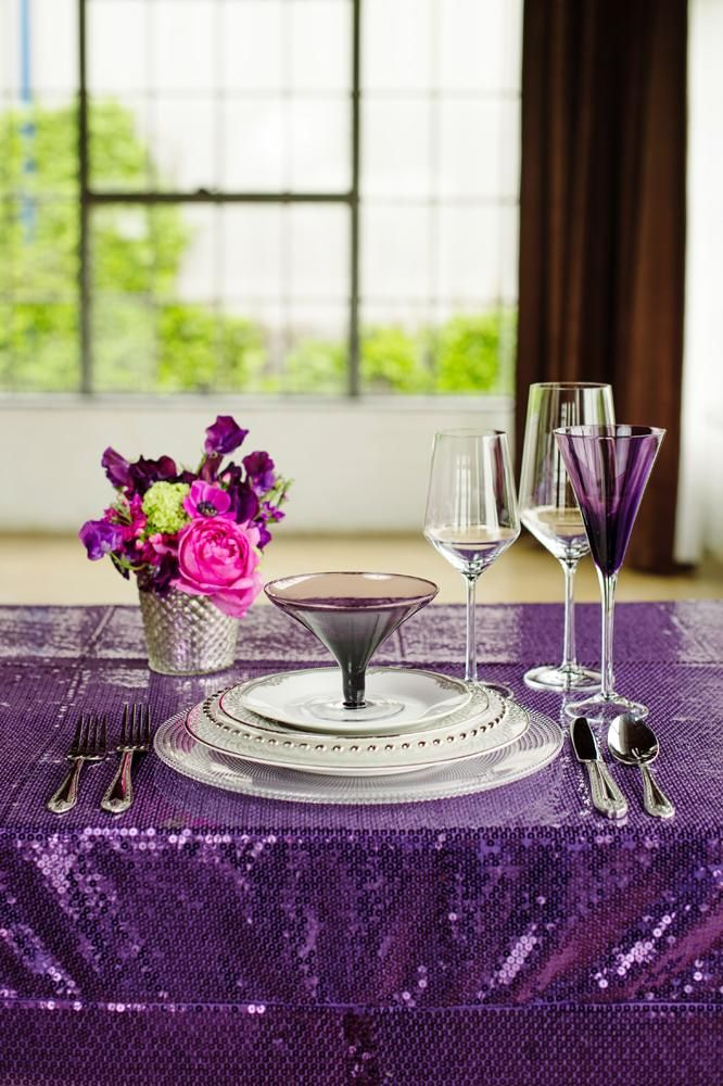 Purple Tablescapes via bridesofnorthtexas.com