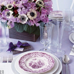 Purple Tablescapes via wedding.theknot.com