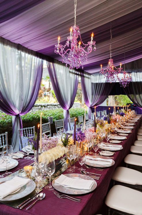 Purple Tablescapes via colincowieweddings.com