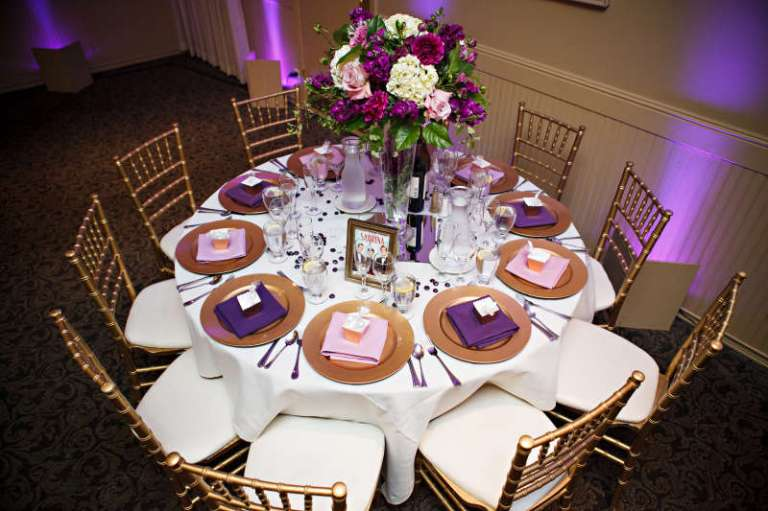 Purple Tablescapes via mywedding.com