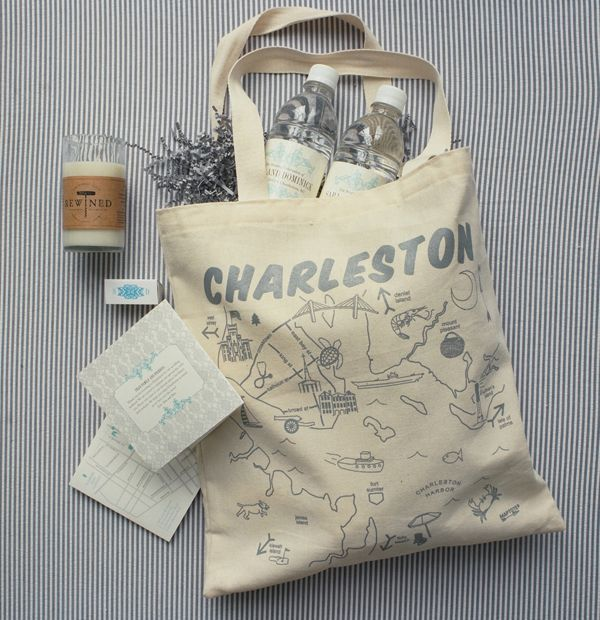 Welcoming Wedding Gift Bags Via Southern Weddings, Photo by Liz Banfield