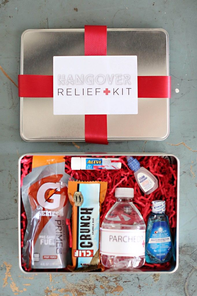 Welcoming Wedding Gift Bags Hangover kits via Scheme Events